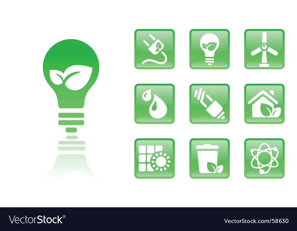 Green icons bulb vector image