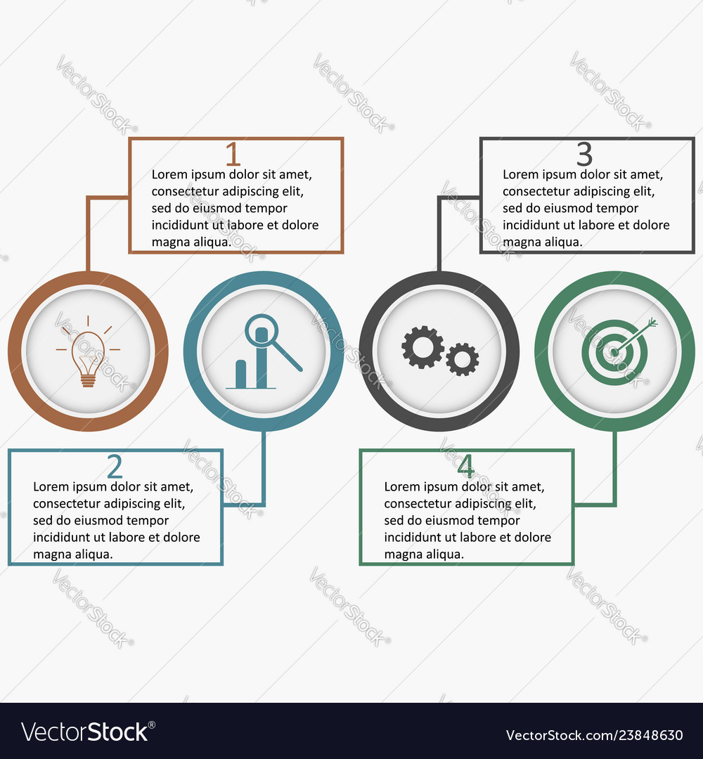 Infographics with circles and linear squares