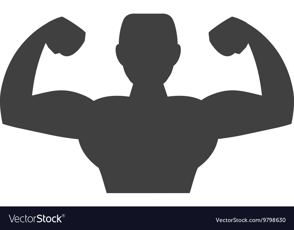 Muscle man icon Bodybuilder design