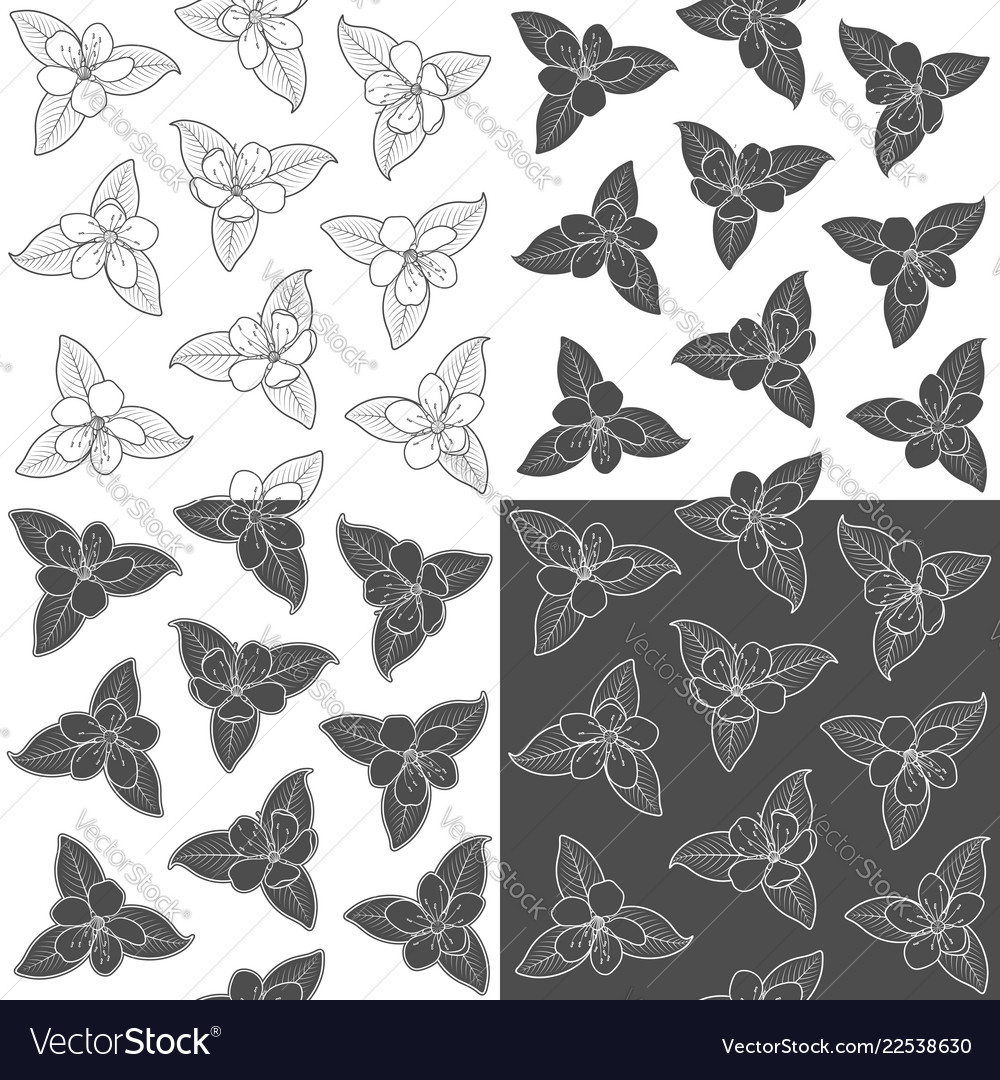 Set of seamless pattern with spring flowers