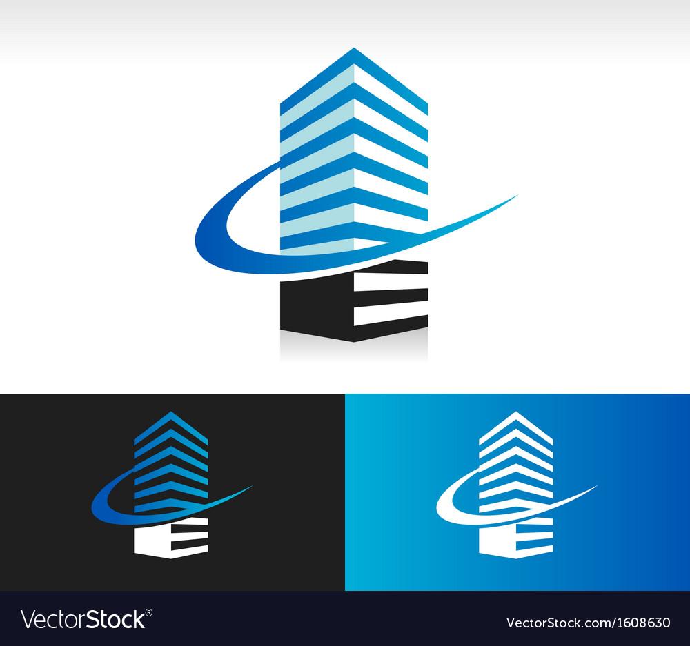 Swoosh Modern Building Logo Icon vector image