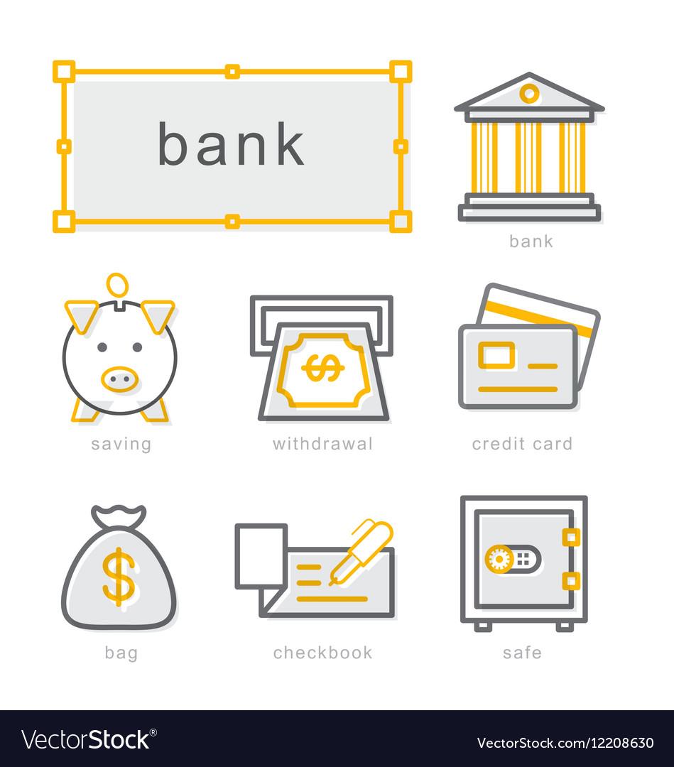 Thin line icons set bank
