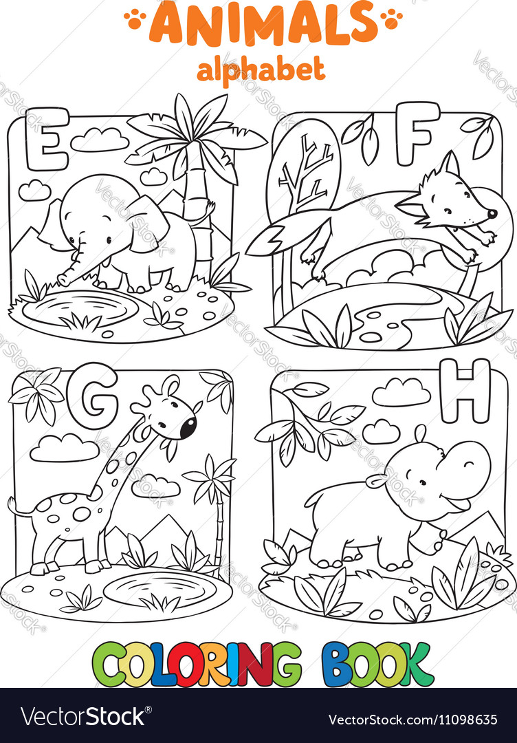 Animals alphabet or ABC Coloring book