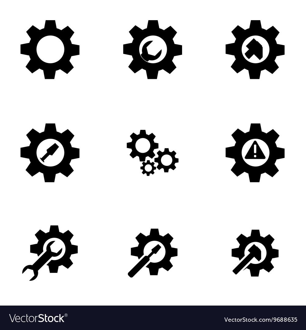 Black tools in gear icon set