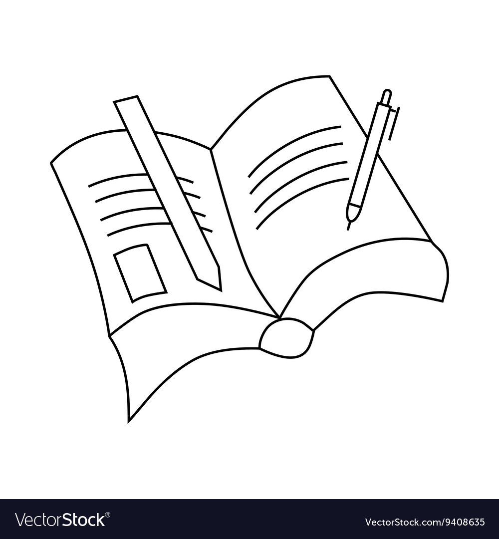Book with pen and pencil icon outline style