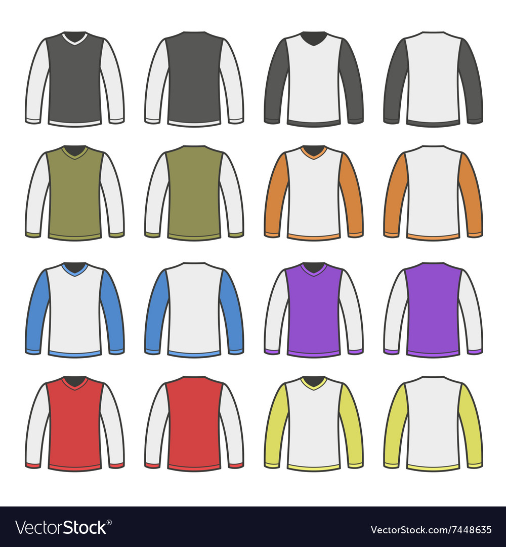 Color Men T-shirt Long Sleeved Shirts Set vector image