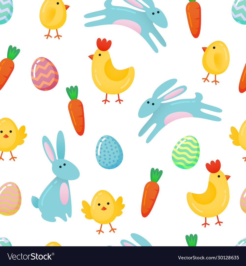 Easter seamless pattern background with cute