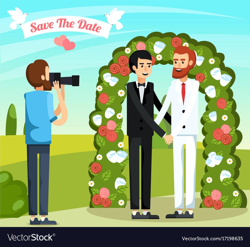 Flat wedding people orthogonal composition