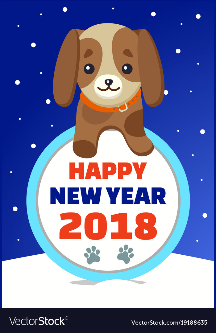 Happy New Year 2018 Cute Dog Royalty Free Vector Image