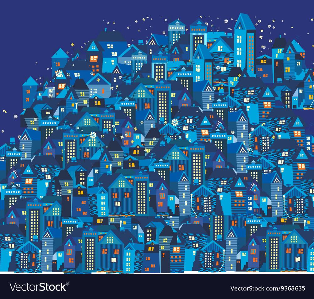 Night city with cartoon houses