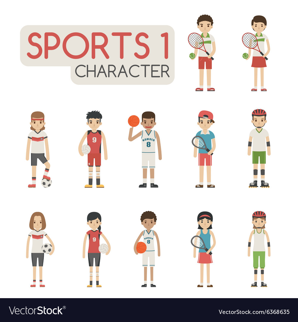 Set of cartoon sport characters eps10 for