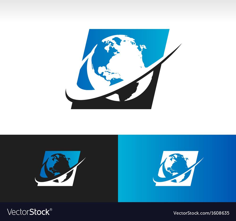 Swoosh Planet Earth Logo Icon
