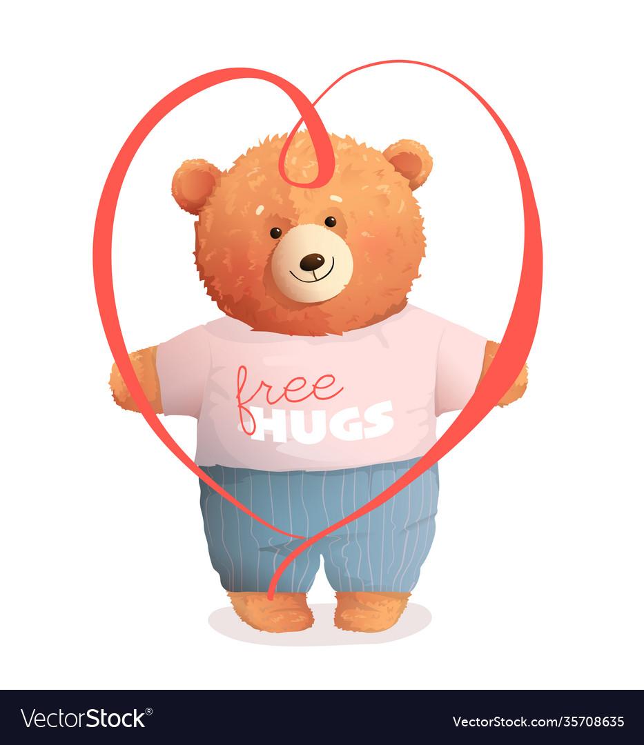 Teddy bear hugging holding valentine gift heart