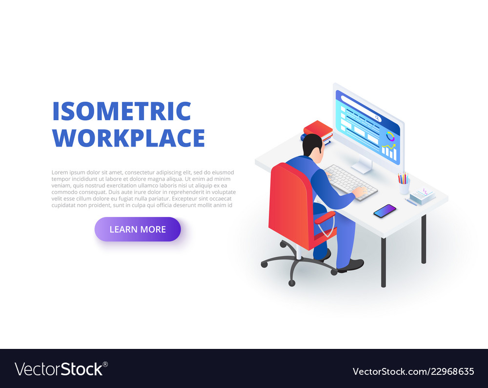 Workplace design concept with sitting man