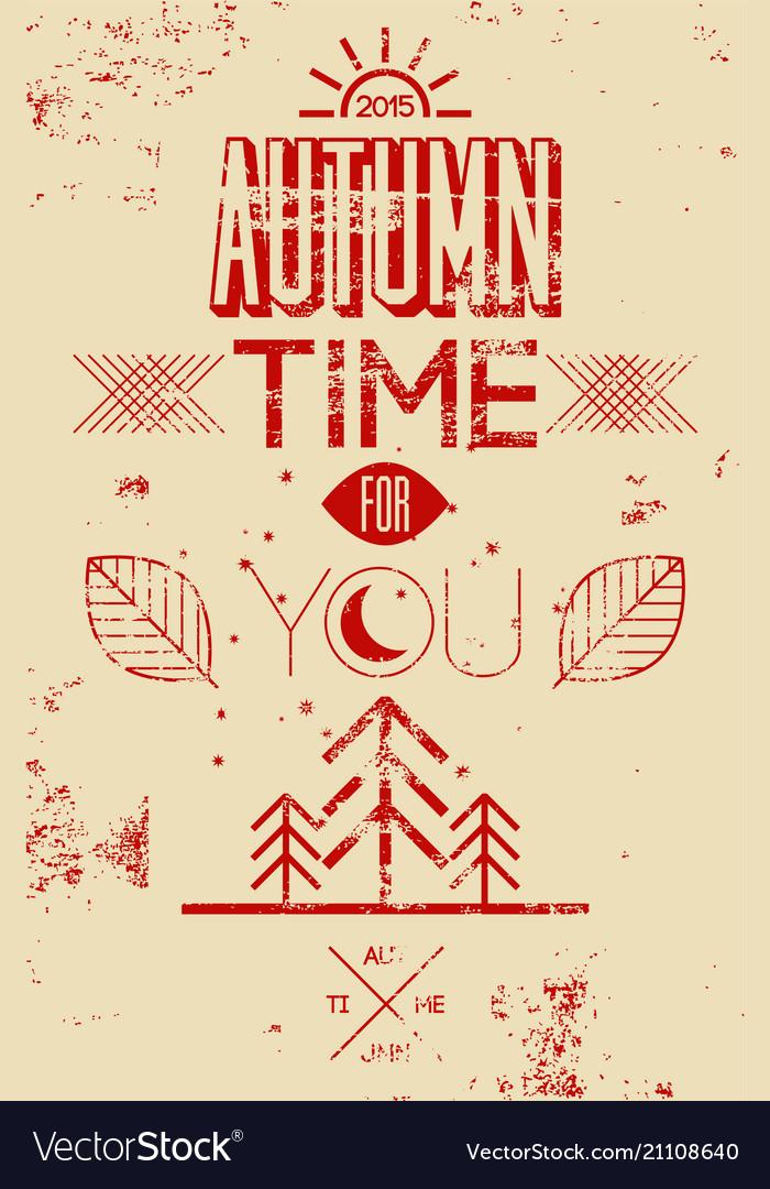 Autumn time retro grunge poster