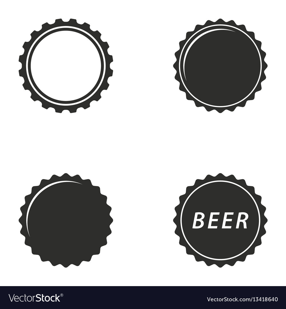 Bottle cap icon set vector image