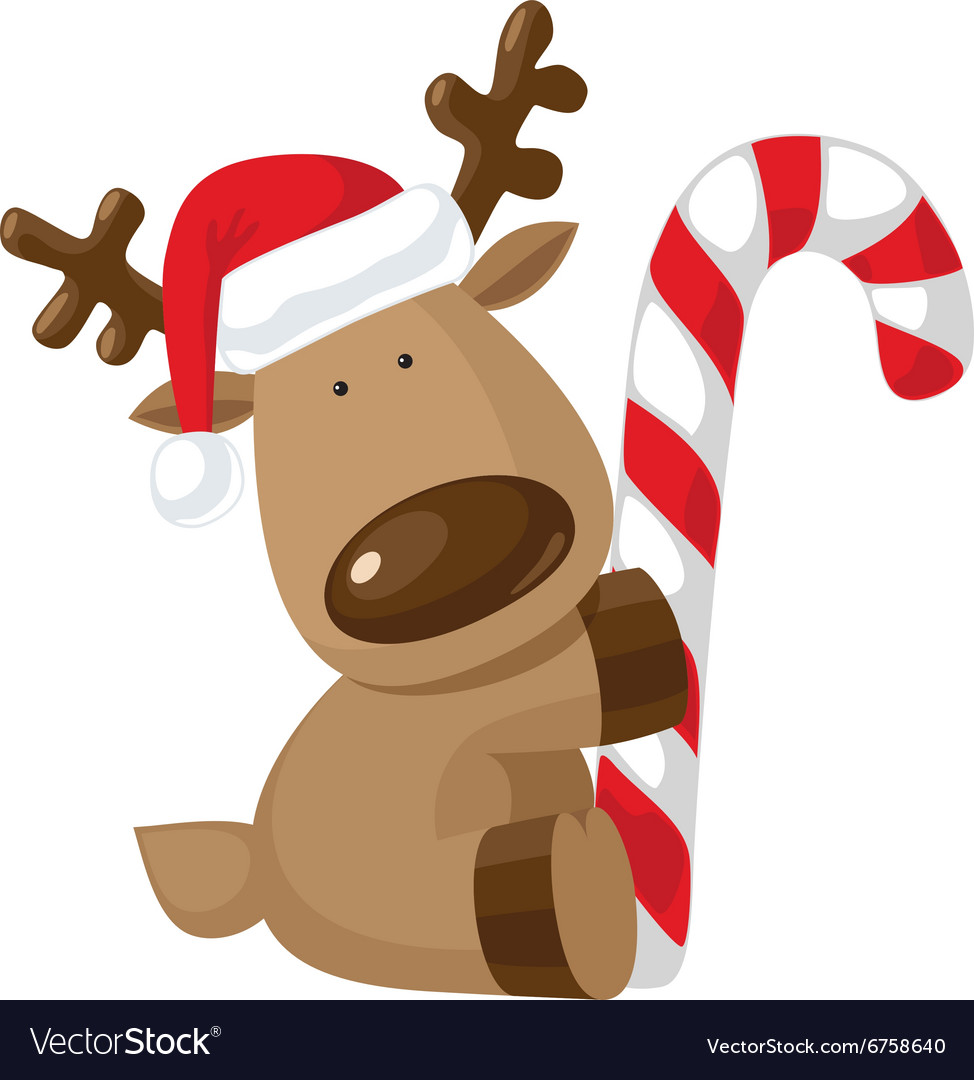 Candy cane vector. Christmas reindeer holding