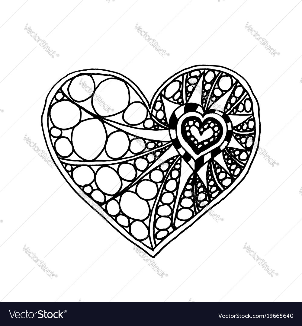 Doodle hand drawn heart coloring page book