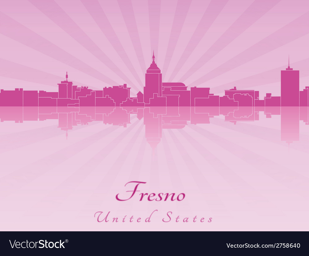 Fresno skyline in radiant orchid vector image