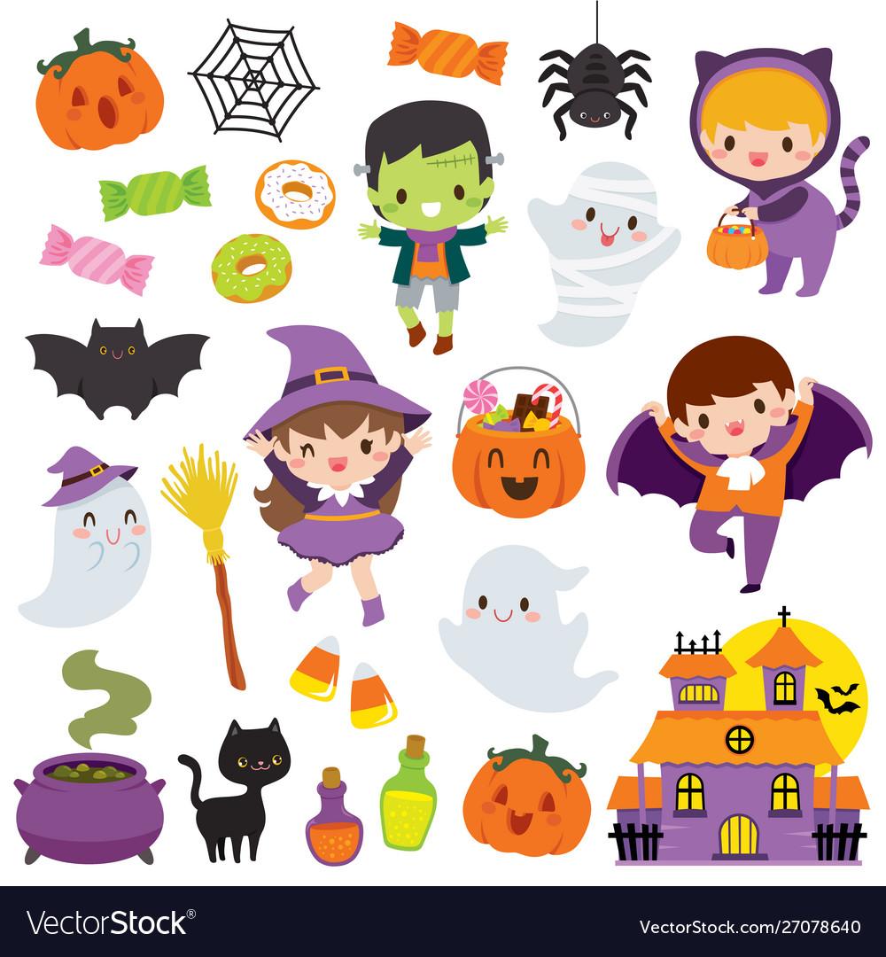 Kawaii Cute Halloween Clipart Set Royalty Free Vector Image