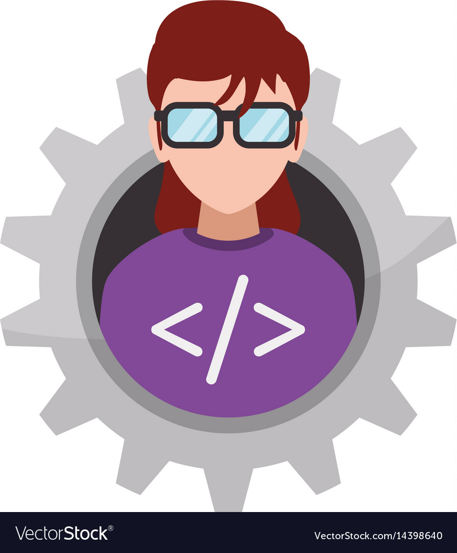 c9a0f382b2c0 Programmer woman faceless glasses Royalty Free Vector Image