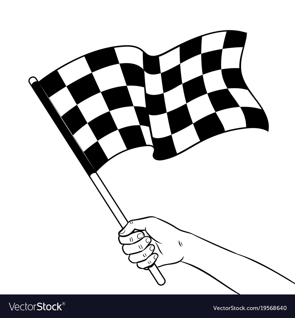 Racing flag in hand coloring book