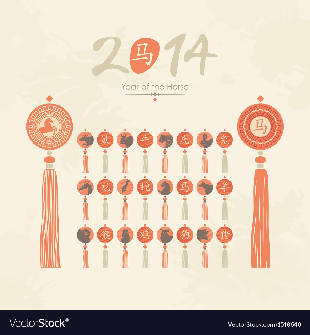 Tassels set with Chinese zodiac signs