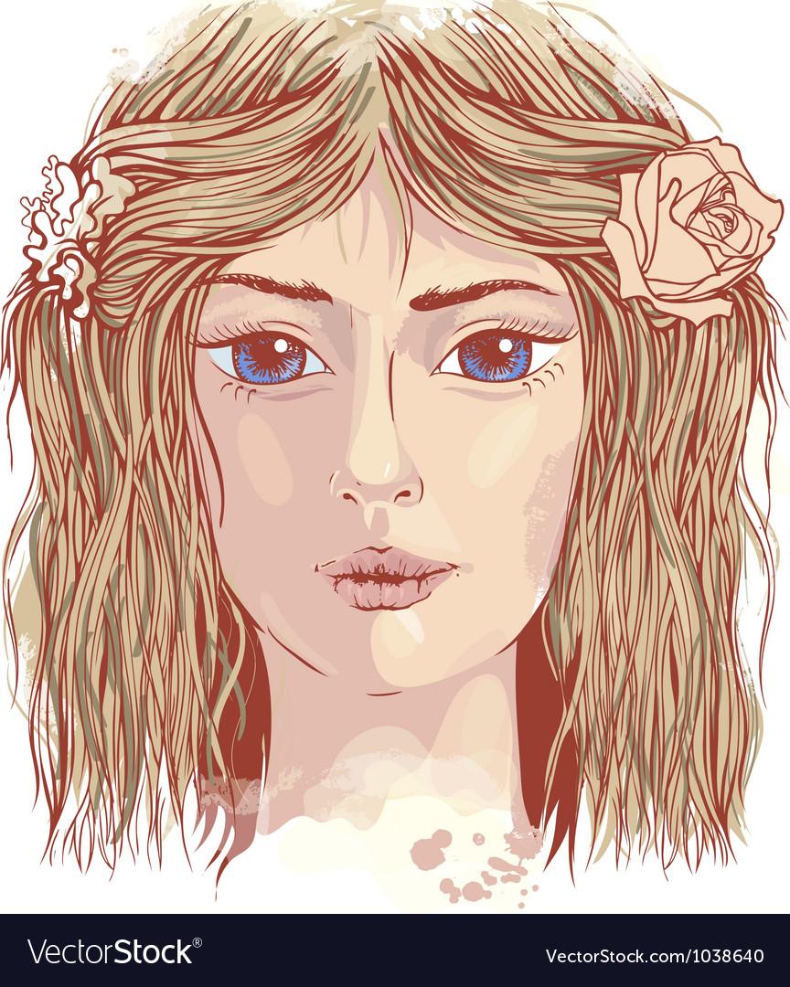 Young beautiful face