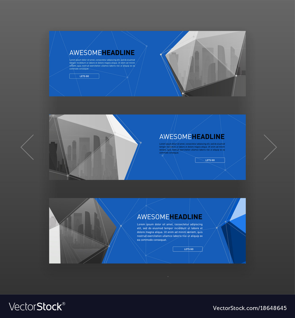 3d lowpoly solid abstract website slider template vector image maxwellsz