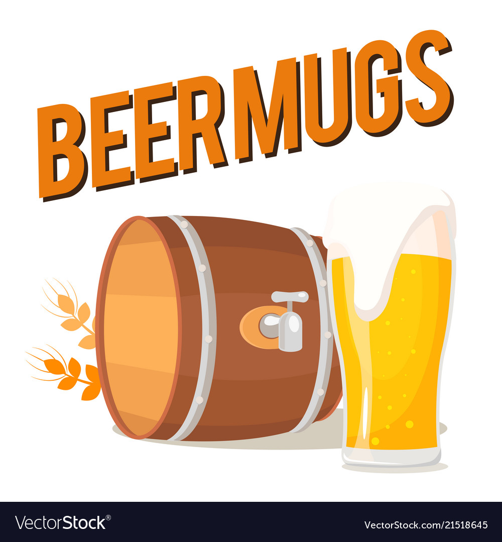 Beer mugs glass of beer and beer barrel ima