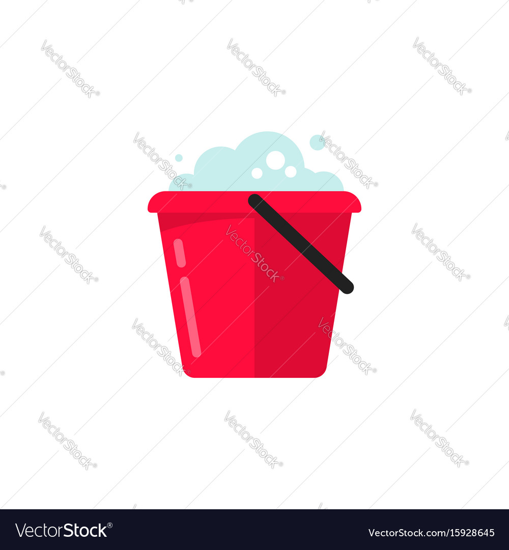 Bucket of water icon flat cartoon pail or