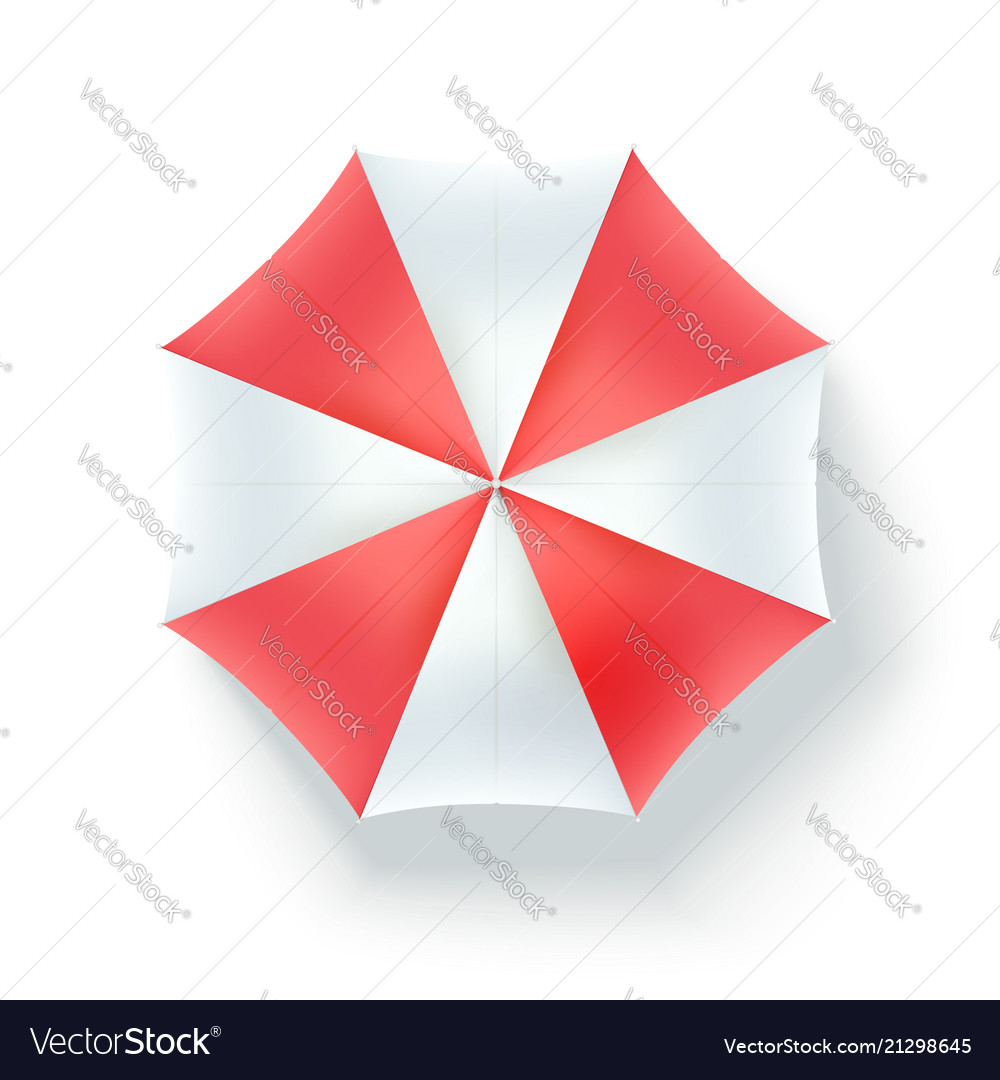 Color Beach Umbrella Top View Icon Of