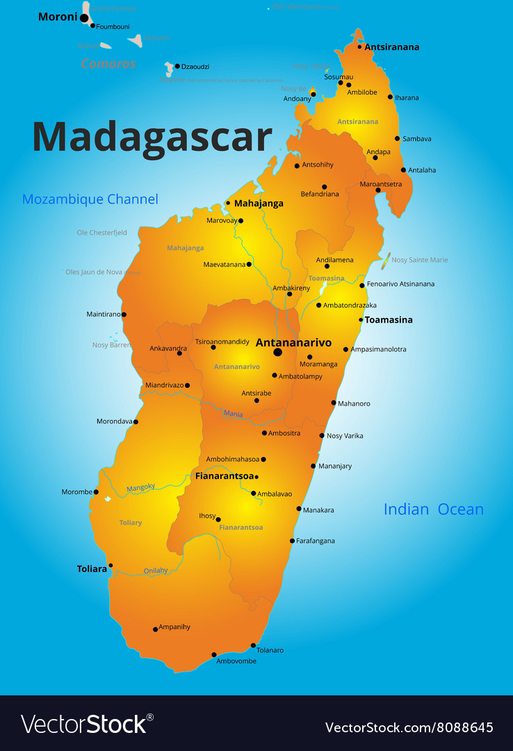Map Of Madagascar Color map of Madagascar country Royalty Free Vector Image Map Of Madagascar