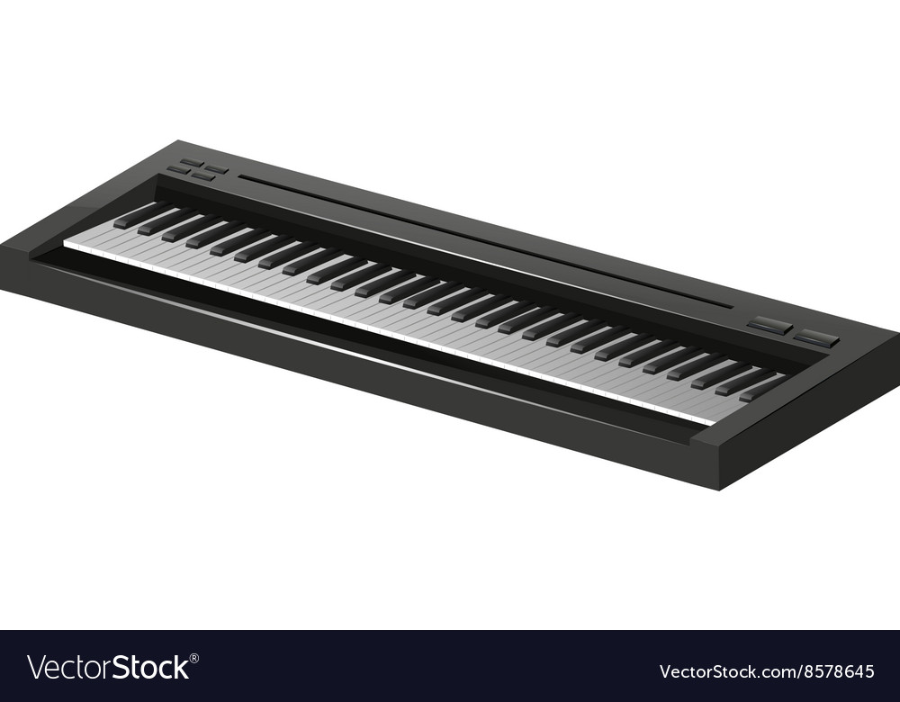 Electric piano on white background