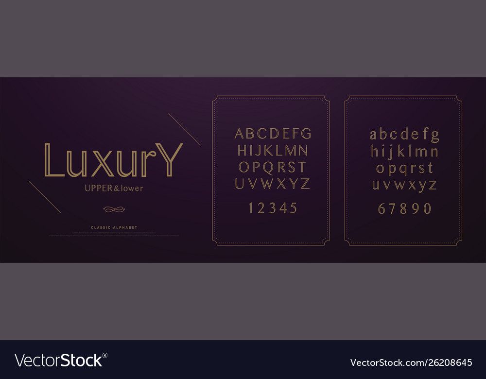 Elegant luxury alphabet letters font set wedding
