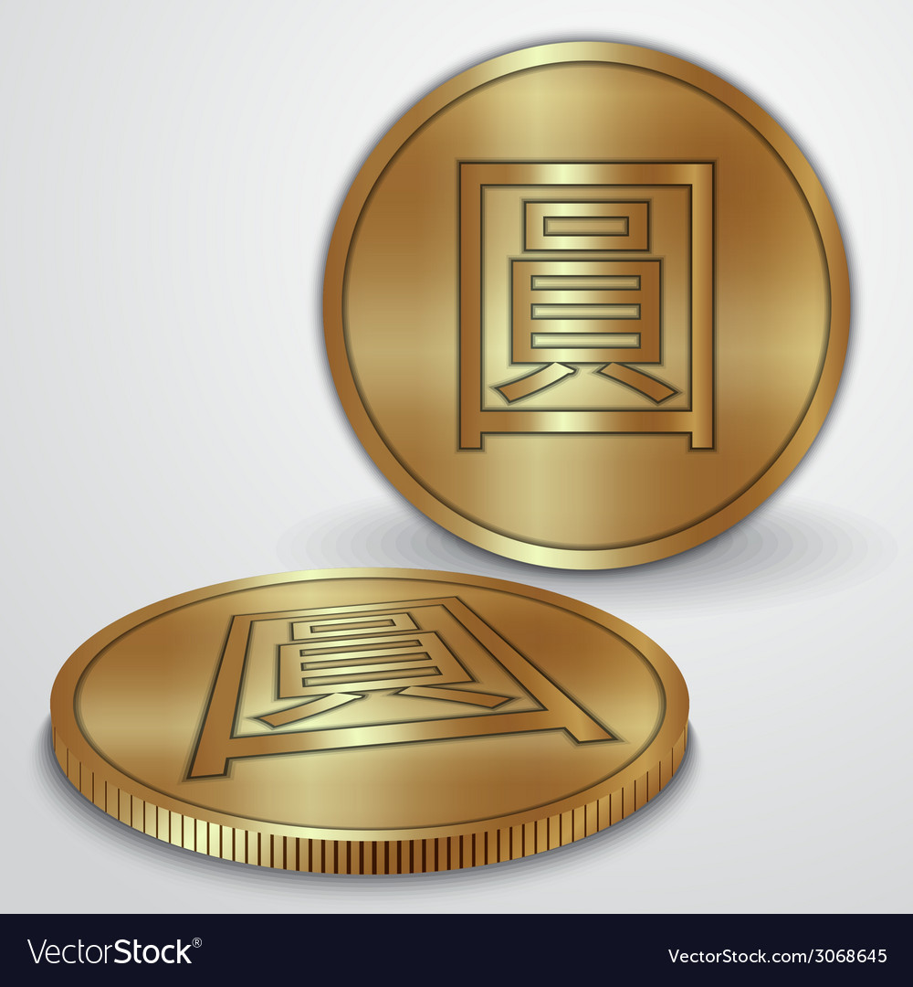 Gold coins with Chinese Yan currency sign