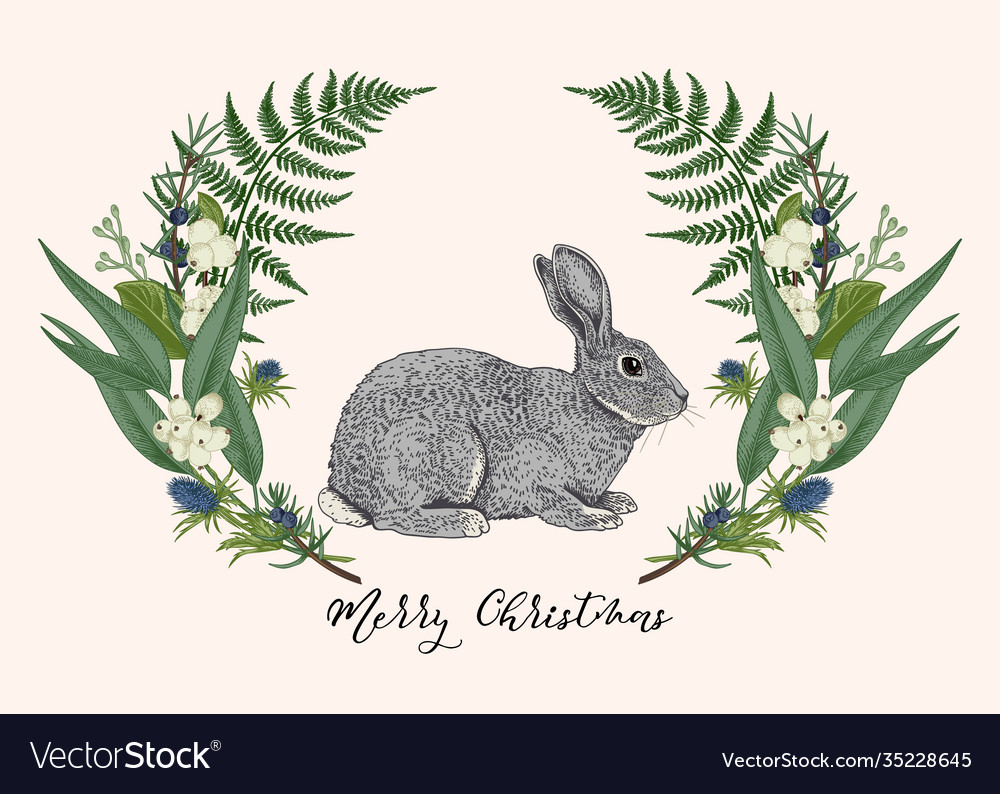 Green floral wreath with rabbit