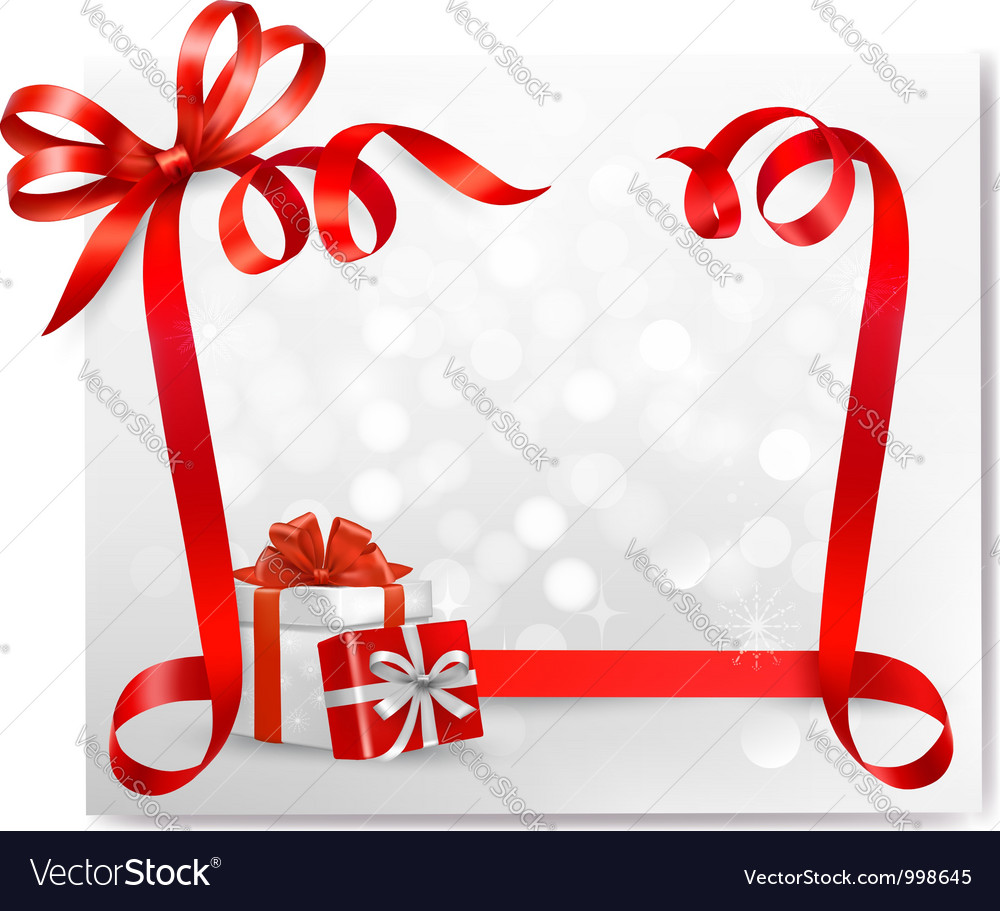 Holiday background with red gift bow with gift vector image negle Image collections