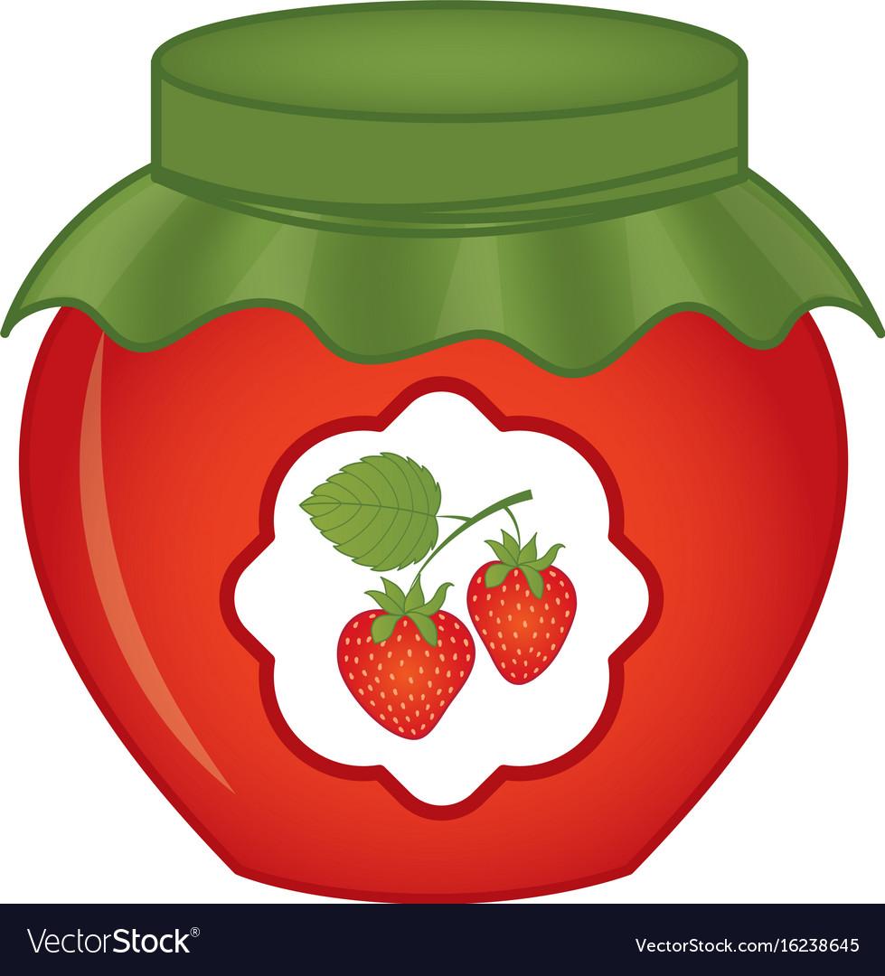 Jar of strawberry jam vector image