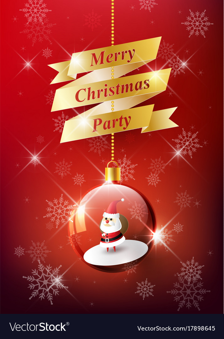 Merry christmas with santa claus in christmas ball