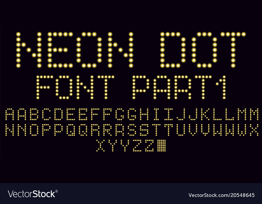 Neon dot font in yellow part 1