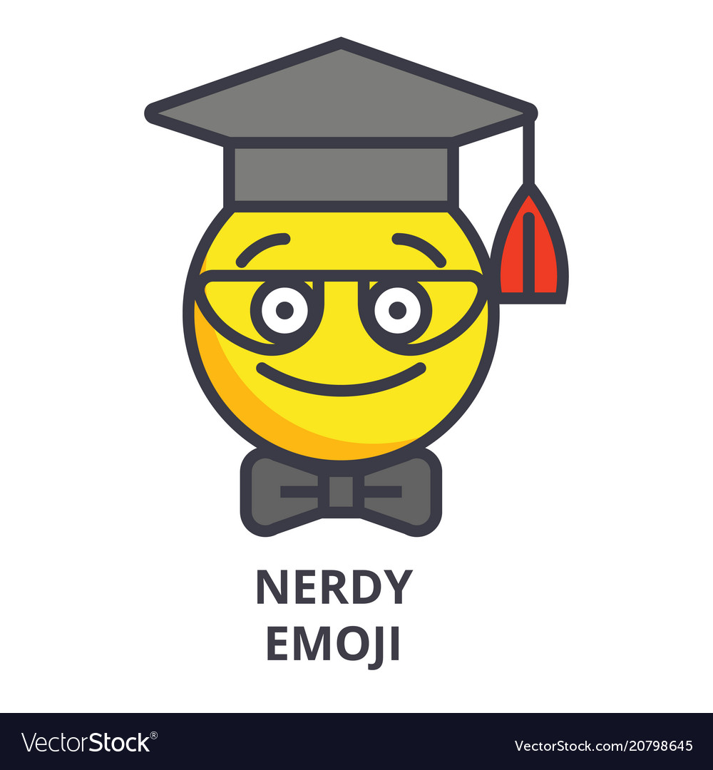 Nerdy student emoji line icon sign