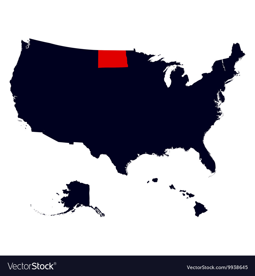 North Dakota State in the United States map Vector Image