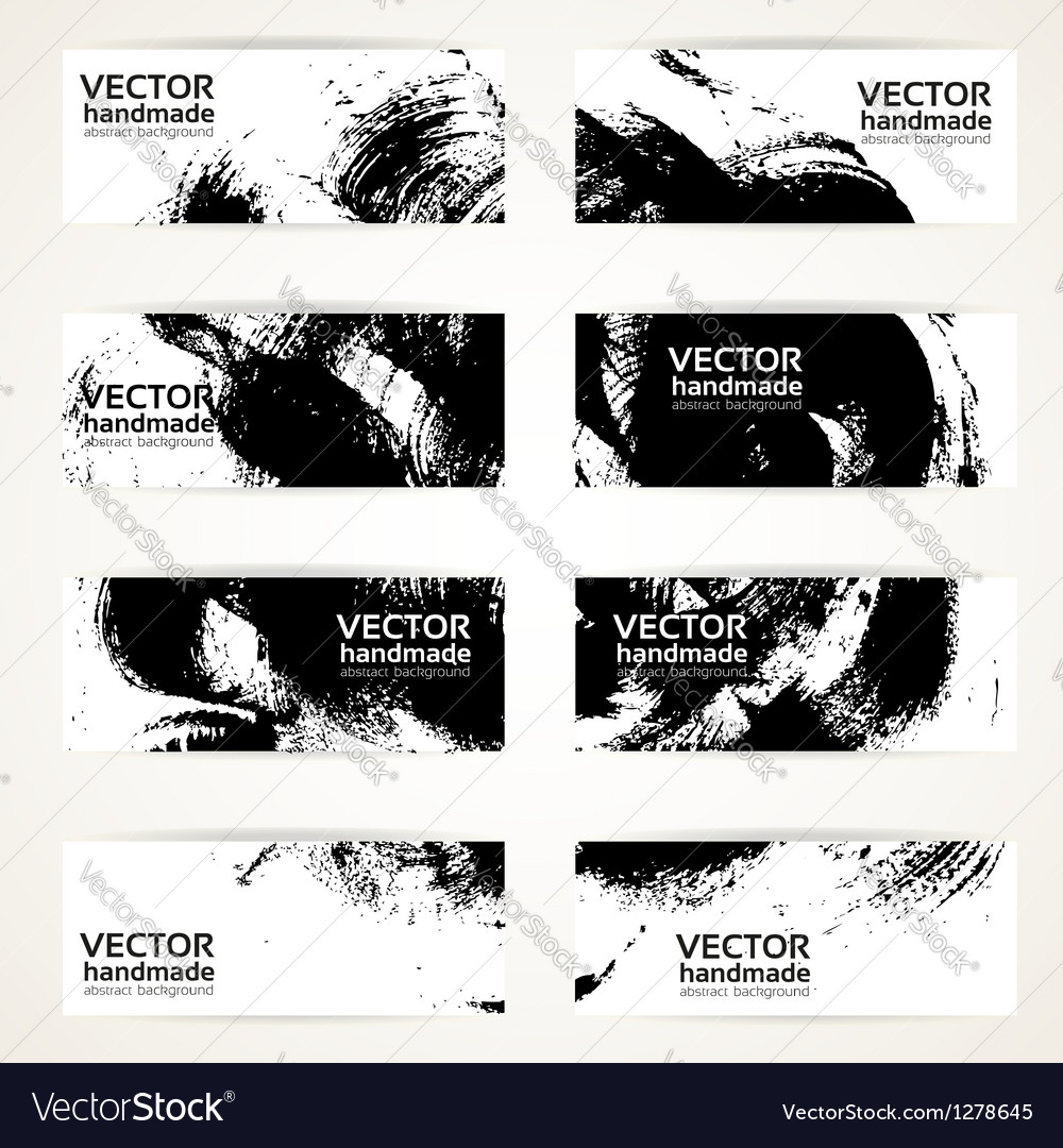 Set of abstract black drawn by brush banner