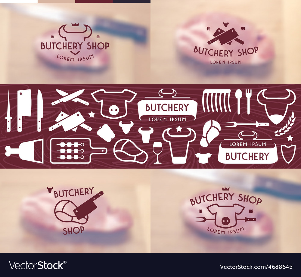 Set Of Labels Templates And Logo Butchery Shop Vector Image