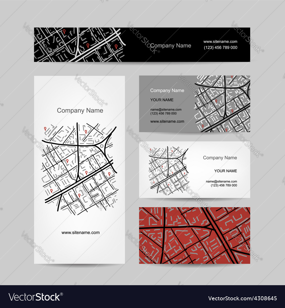 Sketch of city map business card design Royalty Free Vector