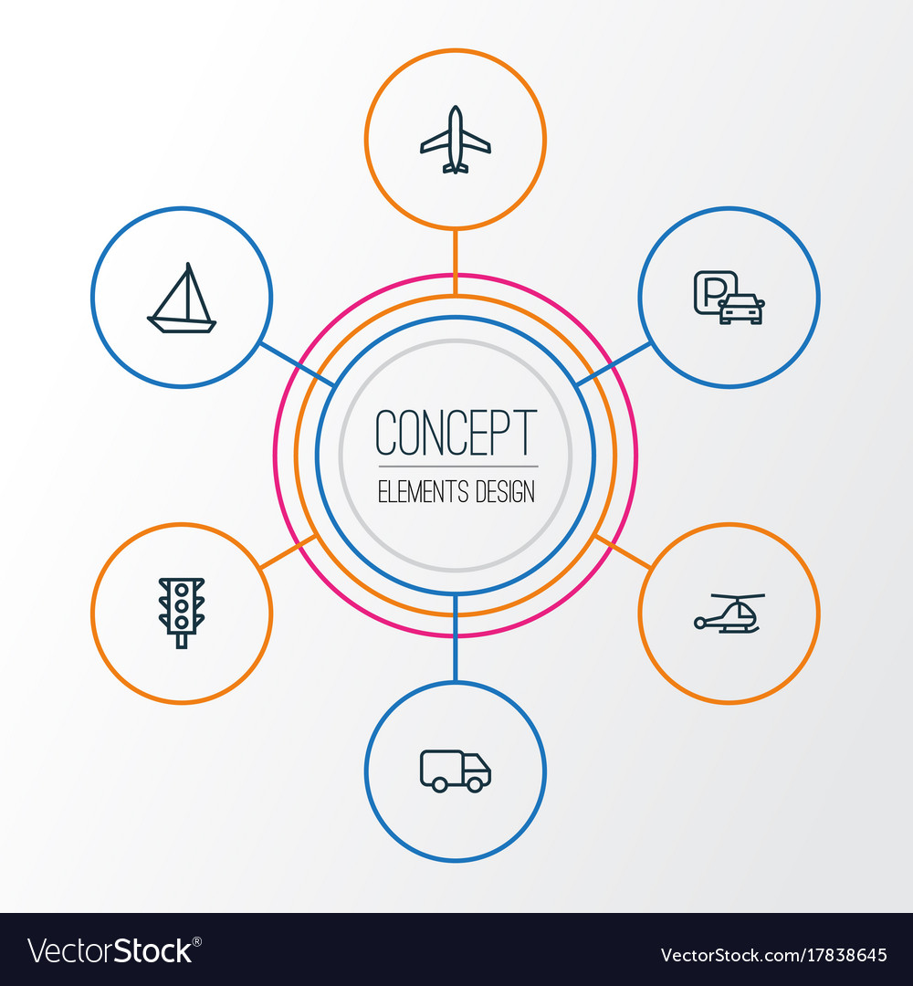 Transport outline icons set collection of sailing vector image