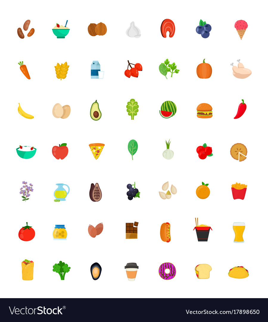 49 food and drink icon set flat