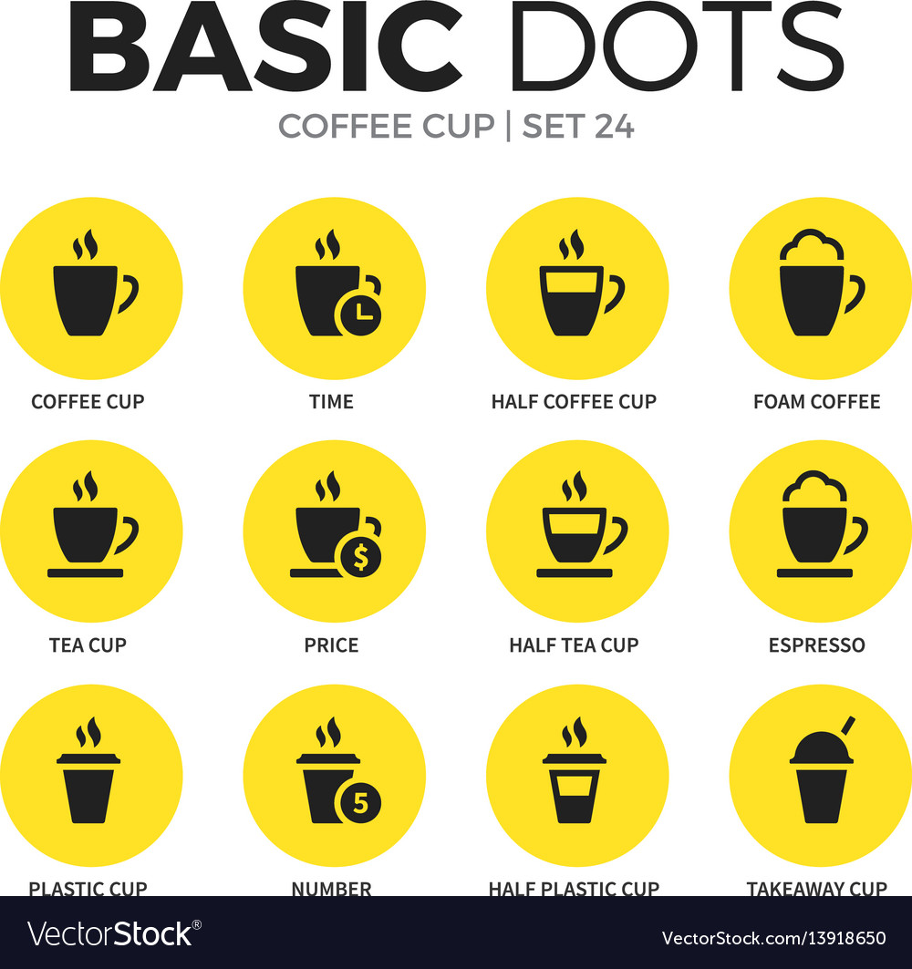 Coffee cup flat icons set