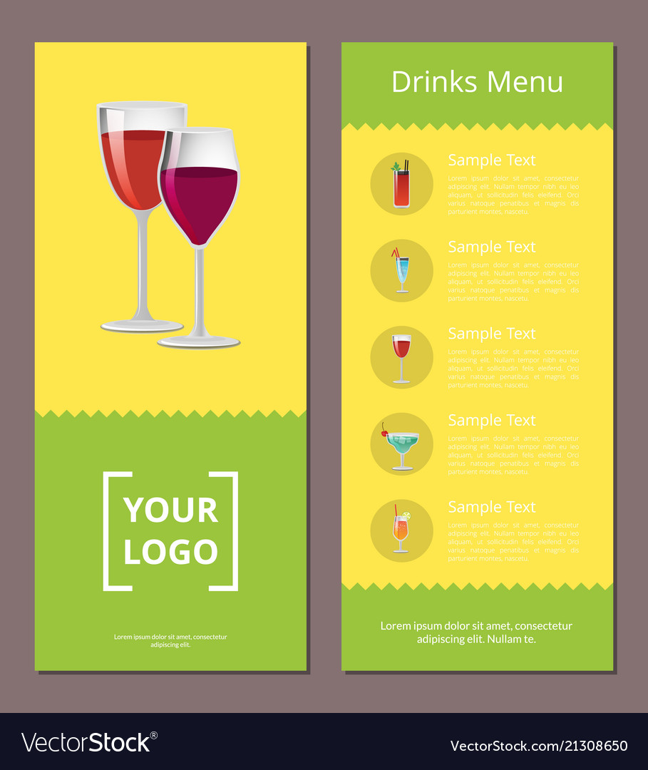 drink menu advertisement poster design alcohol vector image